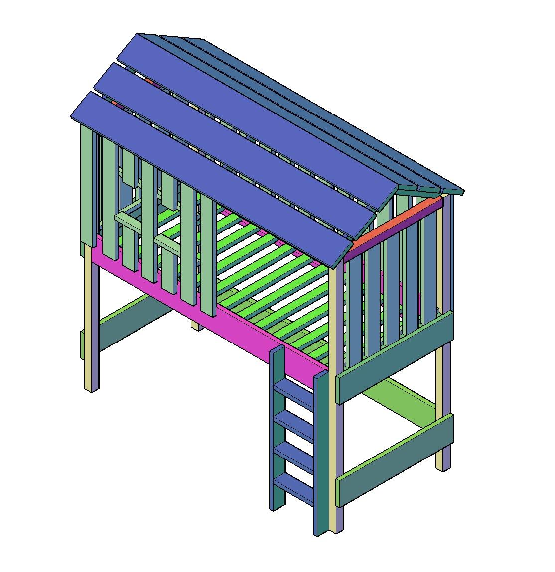 Super Boomhutbed bouwtekening - Klus Tekeningen @GU75