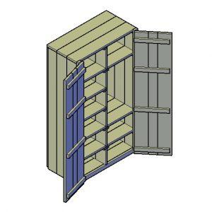 Kast met boorden en lade bouwtekening - Klus Tekeningen