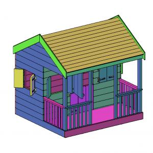 Speelhuisje met veranda bouwtekening