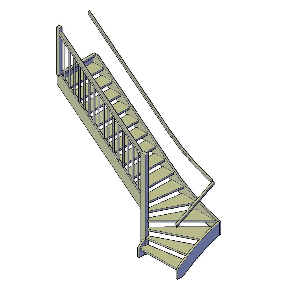 trap met onderkwart links bouwtekeningen klus tekeningen